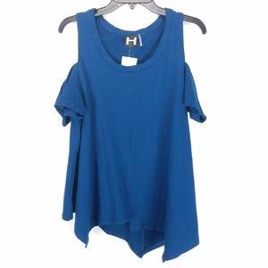 H by Bordeaux Blue Cold Shoulder Swing Top